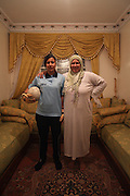 Unveiled soccer .Boukhami Siham , the goalkeeper of NASIM is photographed with her mother  at her home .A work about women's soccer in Moroco on the year of the first world cup in Africa . Wednesday , 13th January 2010 ,  Sidi-Moumen , outskirts of Casablanca , Morocco. (Photo Joao Henriques )