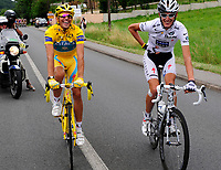 CYCLING - TOUR DE FRANCE 2010 - PARIS (FRA) - 25/07/2010 - PHOTO : VINCENT CURUTCHET / DPPI - <br /> STAGE 20 - LONGJUMEAU > PARIS CHAMPS ELYSEES - ALBERTO CONTADOR (ESP) / ASTANA  AND ANDY SCHLECK (LUX) / SAXO BANK