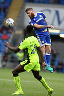 Aron Gunnarsson of Cardiff city rises high to get to a header. EFL Skybet championship match, Cardiff city v Reading at the Cardiff city stadium in Cardiff, South Wales on Saturday 27th August 2016.<br /> pic by Andrew Orchard, Andrew Orchard sports photography.