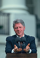 President Bill Clinton makes a statement on the South Lawn of the White House.<br /><br />Photograph by Dennis Brack