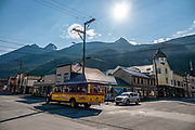 Skagway Alaska Street Car Tour bus. Skagway, Alaska, USA. Skagway was founded in 1897 on the Alaska Panhandle. Skagway's population of about 1150 people doubles in the summer tourist season to manage more than one million visitors per year. Half of Alaska's total visitors come via cruise ships. Klondike Gold Rush National Historical Park commemorates the late 1890s Gold Rush with three units in Municipality of Skagway Borough: Historic Skagway; the White Pass Trail; and Dyea Townsite and Chilkoot Trail. (A fourth unit is in Pioneer Square National Historic District in Seattle, Washington.)