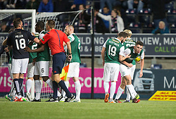 Falkirk's Lee Miller not happy with ref Muir after the penalty decision. Falkirk 0 v 1 Hibernian, Scottish Championship game played 20/10/2015 at The Falkirk Stadium.