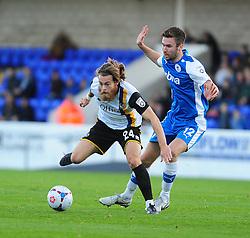 Bristol Rovers' Stuart Sinclair is challenged by Chester's Josh O'Keefe - Photo mandatory by-line: Neil Brookman/JMP - Mobile: 07966 386802 - 22/11/2014 - Sport - Football - Chester - Deva Stadium - Chester v Bristol Rovers - Vanarama Football Conference