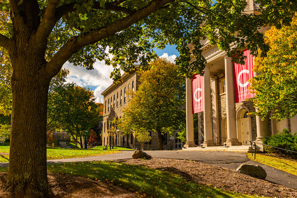 Colgate University is pictured with fall foliage October 1, 2020.