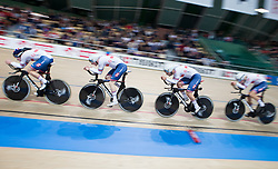 February 28, 2019 - Pruszkow, Poland - Ethan Hayter (GBR),Edward Clancy (GBR),Kian Emadi (GBR),Charlie Tanfield (GBR) on day two of the UCI Track Cycling World Championships held in the BGZ BNP Paribas Velodrome Arena on February 28, 2019 in Pruszkow, Poland. (Credit Image: © Foto Olimpik/NurPhoto via ZUMA Press)