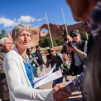 092614       Adron Gardner<br /> <br /> Sally Jewell, Secretary U.S. Department of the Interior, greets on arrival for the start of the Trust Settlement Agreement Signing Ceremony in Window Rock Friday.