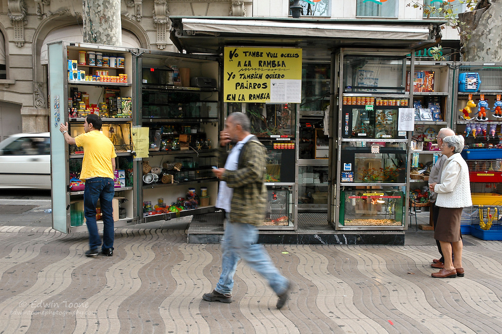 There are many different stands that sell everything from pets to flowers lining La Rambla.