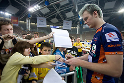 Venno Oliver of ACH with fans after the 2nd Semifinal match of CEV Indesit Champions League FINAL FOUR tournament between ACH Volley, Bled, SLO and Trentino BetClic Volley, ITA, on May 1, 2010, at Arena Atlas, Lodz, Poland. Trentino defeated ACH 3-1. (Photo by Vid Ponikvar / Sportida)