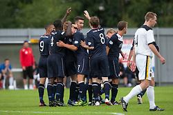 Falkirk's Conor McGrandles cele (hidden) scoring their goal.<br /> Dumbarton 1 v 1 Falkirk, Scottish Championship 10/8/2013.<br /> ©Michael Schofield.