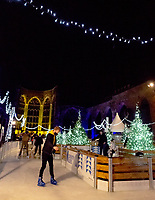 Coventry UK City of Culture opens their festive ice-skating experience Coventry Glides. It is located beside and around the  iconic cathedral ruins, creating an atmospheric festive experience for visitors to enjoy during the winter period. Friday 4 December 2020, photo by Mark Anton Smith
