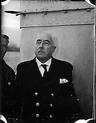"""Captain W.G. Gibbons of The """"City of Waterford"""" before they set sail from Dublin with a cargo of horses for export,17th January 1960."""