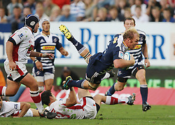 Schalk Burger of the Stormers takes a dive during the Super Rugby (Super 15) fixture between DHL Stormers and the Reds played at DHL Newlands in Cape Town, South Africa on 9 April 2011. Photo by Jacques Rossouw/SPORTZPICS