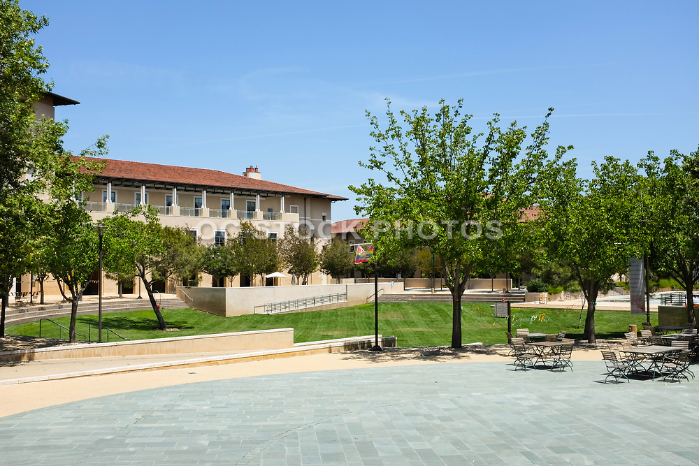 Outside the Student Center Patio at Soka Bistro with the Ikeda Library in the Background, Soka University
