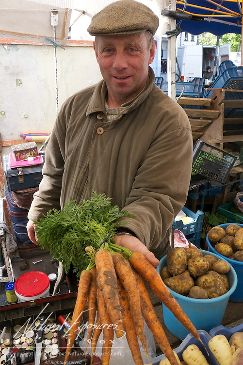 Vendor at the Galway Farmers market, Galway, Ireland.