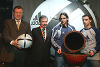 LISBOA-29 NOVEMBRO 2003 GERAHARD AIGNER executive director of UEFA  holds the Adidas Roteiro match ball whith from left to rigthGERAHARD AIGNER (E.D. UEFA), GILBERTO MADAIL, (President of the EURO 2004),NUNO GOMES (S.L.Benfica), SIMÃO SABROSA (S.L.Benfica) ; ADIDAS presents the official ball for the EURO 2004 in FILL auditorium-Lisbon<br />(PHOTO BY: AFCD/NUNO ALEGRIA)