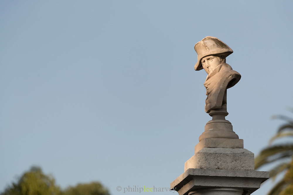 Sunlit Napoleon head stone statue - Vallauris Golfe-Juan Cte dAzur, France
