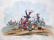 The Military Accelerator'. Suggested use by the Cavalryof the Hobby-Horse or Dandy-Horse introduced into the British Isles in 1818. From a print published in Dublin c1820.
