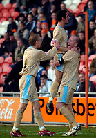 Photo: Jed Wee.<br />Blackpool FC v Bristol City. Coca Cola League 1. 21/01/2006.<br />Bristol celebrate with goalscorer Steven Brooker (R).
