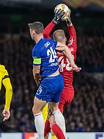 Football - 2018 / 2019 Europa League - Group L: Chelsea vs. FC BATE Borisov<br /> <br /> Gary Cahill (Chelsea FC)  puts Denis Scherbitski (FC BATE Borisov) under pressure as he collects the cross at Stamford Bridge.<br /> <br /> COLORSPORT/DANIEL BEARHAM