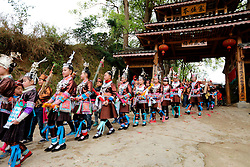 """People of Dong ethnic group perform a folk parade at Meilin Village in Meilin Township under Dong Autonomous County of Sanjiang, south China's Guangxi Zhuang Autonomous Region, March 10, 2016. People of Dong ethnic group attend a local song festival to greet the coming of Er Yue Er, or the second day of the second month on the Chinese lunar calendar, which falls on March 10 this year. Chinese people call it the day when the """"dragon raises its head"""", which means the spring awakens after winter hibernation.(Xinhua/Wu Lianxun) (yxb). EXPA Pictures © 2016, PhotoCredit: EXPA/ Photoshot/ Wu Lianxun<br /> <br /> *****ATTENTION - for AUT, SLO, CRO, SRB, BIH, MAZ, SUI only*****"""