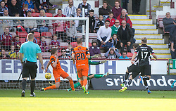 Dunfermline's Michael Paton scoring their goal. Dunfermline 1 v 3 Dundee United, Scottish Championship game played 10/9/2016 at East End Park.