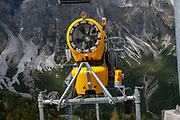 Yellow snow cannon. Photographed at the Schlick 2000 ski centre, Stubai, Tyrol, Austria in September