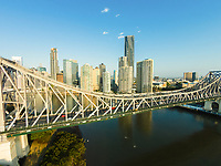 Aerial view of the Story Bridge over the Brisbane River, Brisbane, Queensland, Australia
