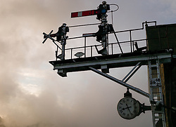 © Licensed to London News Pictures. <br /> 01/10/2016. <br /> Grosmont, UK.  <br /> <br /> Steam from a locomotive rises up past signals during the North Yorkshire Moors Railway Autumn Steam Weekend. <br /> The hugely popular railway line runs a service between Pickering and Whitby through the picturesque North yorkshire countryside and attracts thousands of visitors each year. <br /> <br /> Photo credit: Ian Forsyth/LNP