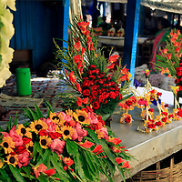 Asia, India, Calcutta. Floral arrangements in the flower market in Calcutta.