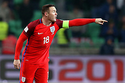 Wayne Rooney of England gives instructions to his players as he prepares to take a free kick - Mandatory by-line: Robbie Stephenson/JMP - 11/10/2016 - FOOTBALL - RSC Stozice - Ljubljana, England - Slovenia v England - World Cup European Qualifier