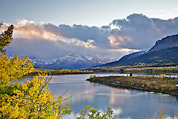 Sunset at Lower St. Maryls Lake, Glacier National Park, Autumn, Fall Colors