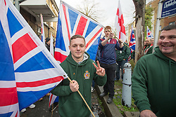 @Licensed to London News Pictures 15/11/2014. Kent , UK . Britain First supporter on the High Street in Rochester as the final weekend of the campaign for the Rochester and Strood by-election starts . Photo credit: Manu Palomeque/LNP