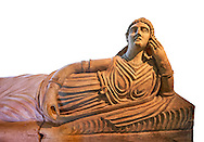 Etruscan Terracotta sarcophagus lid with a female figure reclining, first half of 2nd century BC, inv 15428, The Vatican Museums Rome, White Background. For use in non editorial advertising apply to the Vatican Museums for a license. .<br /> <br /> If you prefer to buy from our ALAMY PHOTO LIBRARY  Collection visit : https://www.alamy.com/portfolio/paul-williams-funkystock/vatican-museums-etruscan.html<br /> <br /> Visit our ETRUSCAN PHOTO COLLECTIONS for more photos to download or buy as wall art prints https://funkystock.photoshelter.com/gallery-collection/Pictures-Images-of-Etruscan-Historic-Sites-Art-Artefacts-Antiquities/C0000GgxRXWVMLyc