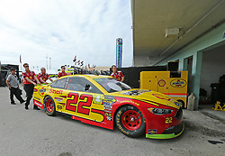 November 16, 2018 - Homestead, FL, USA - Joey Logano #22 car is pushed into the garage before the start practice of the Monster Energy NASCAR Cup Series at Homestead-Miami Speedway on Friday, Nov. 16, 2018. (Credit Image: © David Santiago/Miami Herald/TNS via ZUMA Wire)
