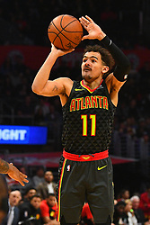 January 29, 2019 - Los Angeles, CA, U.S. - LOS ANGELES, CA - JANUARY 28: Atlanta Hawks Guard Trae Young (11) shoots a jump shot during a NBA game between the Atlanta Hawks and the Los Angeles Clippers on January 28, 2019 at STAPLES Center in Los Angeles, CA. (Photo by Brian Rothmuller/Icon Sportswire) (Credit Image: © Brian Rothmuller/Icon SMI via ZUMA Press)