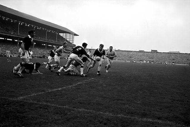 All Ireland Senior Football Championship Final, Dublin v Galway, 22.09.1963, 09.23.1963, 22nd September 1963, Dublin 1-9 Galway 0-10,.Colleran, Galway (No.2) and team-mate McDonagh have this ball safe as Dublin forwards players Ferguson and Timmons advance,