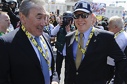 July 6, 2019 - Brussels, Brussels, Belgium - Former Belgian cyclist Eddy Merckxx (left) was the guest of honor at this edition, which is also the centenary of the yellow jersey. Among the personalities was also Prince Albert of Monaco (right in cap and glasses). The Belgian capital and thousands of spectators welcome on July 6th and 7th the start of the 2019 edition of the Tour de France. (Credit Image: © Nicolas Landemard/Le Pictorium Agency via ZUMA Press)