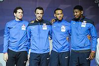 Equipe France / Gauthier Grumier / Ronan Gustin / Daniel Jerent / Ulrich Robeiri - 03.05.2015 - Challenge SNCF Reseau - Coupe du Monde Epee messieurs<br />Photo : Andre Ferreira / Icon Sport