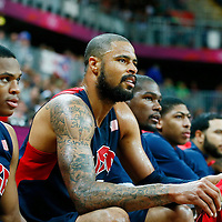 06 August 2012: USA Tyson Chandler is seen on the bench during 126-97 Team USA victory over Team Argentina, during the men's basketball preliminary, at the Basketball Arena, in London, Great Britain.