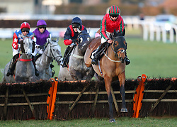 At First Sight ridden by jockey Bryony Frost jumps the fence during the Book For Easter Now Conditional Jockeys Mares Handicap Hurdle during Injured Jockeys Fund Charity Raceday at Plumpton Racecourse.