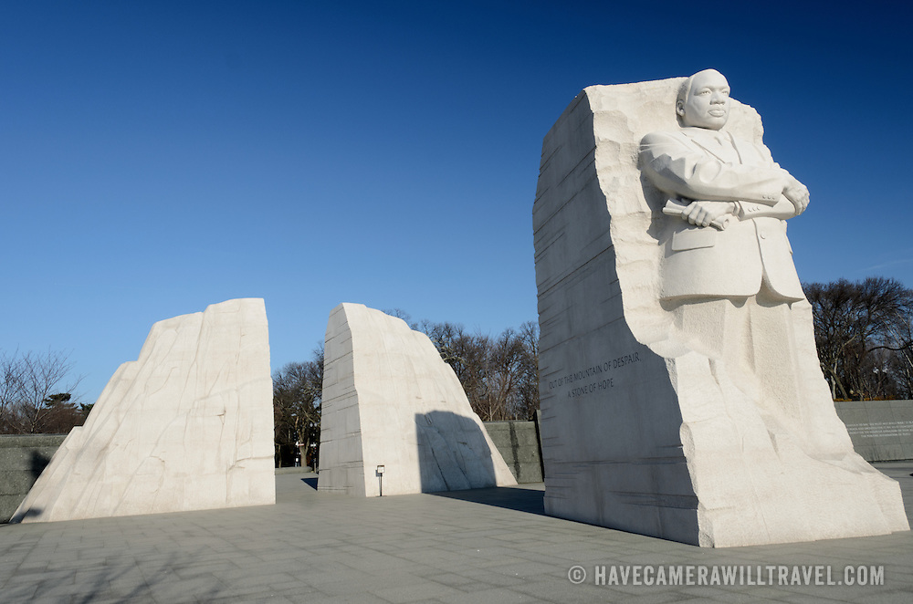 """The """"Stone of Hope"""" statue by sculpture Lei Yixin. Situated in West Potomac Park fronting the Tidal Basin (opposite the Jefferson Memorial), the MLK Memorial was opened in 2011."""