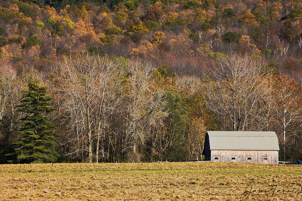 A old barn in the Vermont countryside in autumn, New England,Vermont, USA