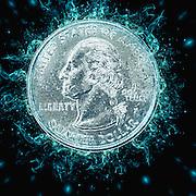 Digitally Enhanced US one Quarter Dollar coin (25 cents)