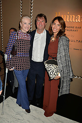 Left to right, JOY HENDRICKS, BEN BROWN and  at the PAD London 2015 VIP evening held in the PAD Pavilion, Berkeley Square, London on 12th October 2015.