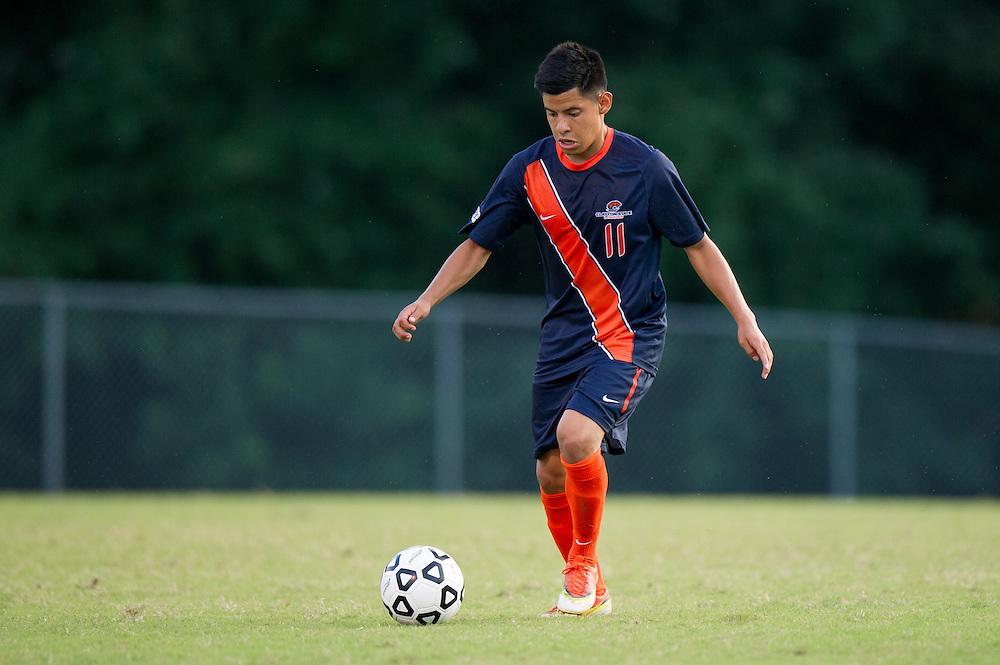 Aug 25, 2013; Morrow, GA, USA; Clayton State men's soccer player Arturo Cruz against Oglethorpe University at CSU. CSU won 4-1. Photo by Kevin Liles/kdlphoto.com