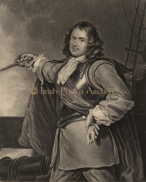 Robert Blake (1599-1657) English naval commander, born at Bridgwater, Somerset.  During the English Civil War he fought on the side of Parliament against Charles I.  In 1649 Blake was appointed General at Sea (Admiral) and rebuilt the navy and rewrote naval tactics.  Engraving.