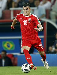 Nemanja Radonjic of Serbia during the 2018 FIFA World Cup Russia group E match between Serbia and Brazil at the Otkrytiye Arena on June 27, 2018 in Moscow, Russia