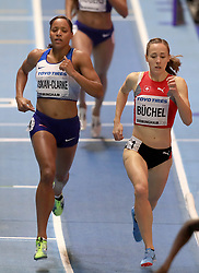Great Britain's Shelayna Oskan-Clarke (left) in action during the women's 800m final during day four of the 2018 IAAF Indoor World Championships at The Arena Birmingham.