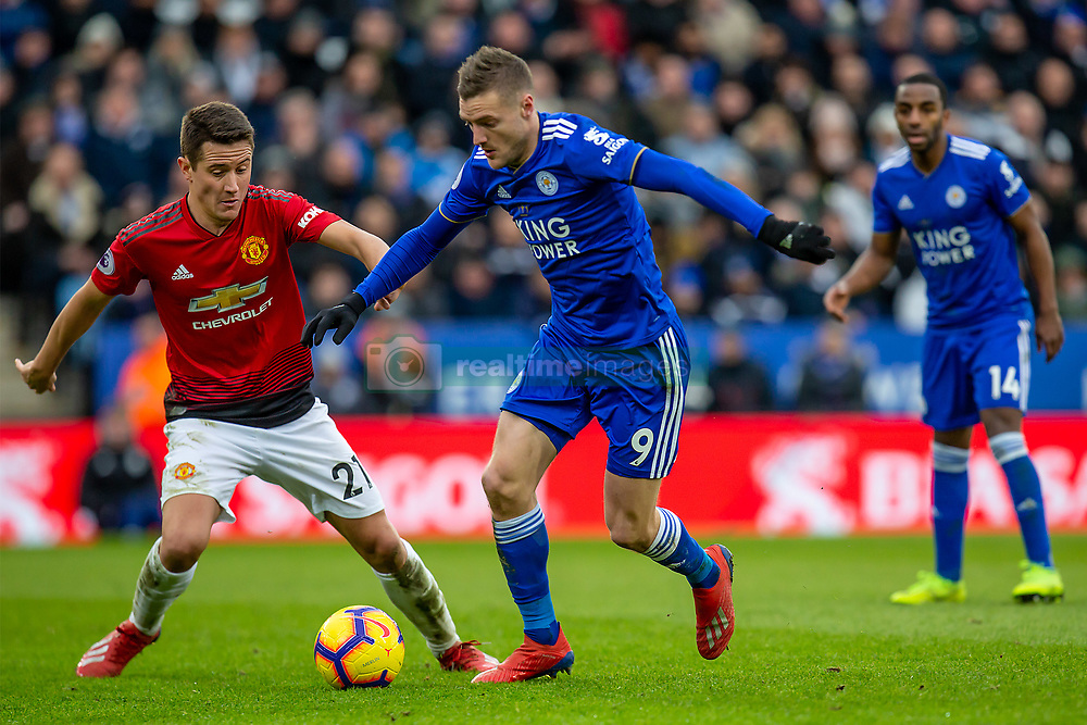 February 3, 2019 - Leicester, England, United Kingdom - Jamie Vardy of Leicester City under pressure from Ander Herrera of Manchester United during the Premier League match between Leicester City and Manchester United at the King Power Stadium, Leicester on Sunday 3rd February 2019. (Credit Image: © Mi News/NurPhoto via ZUMA Press)