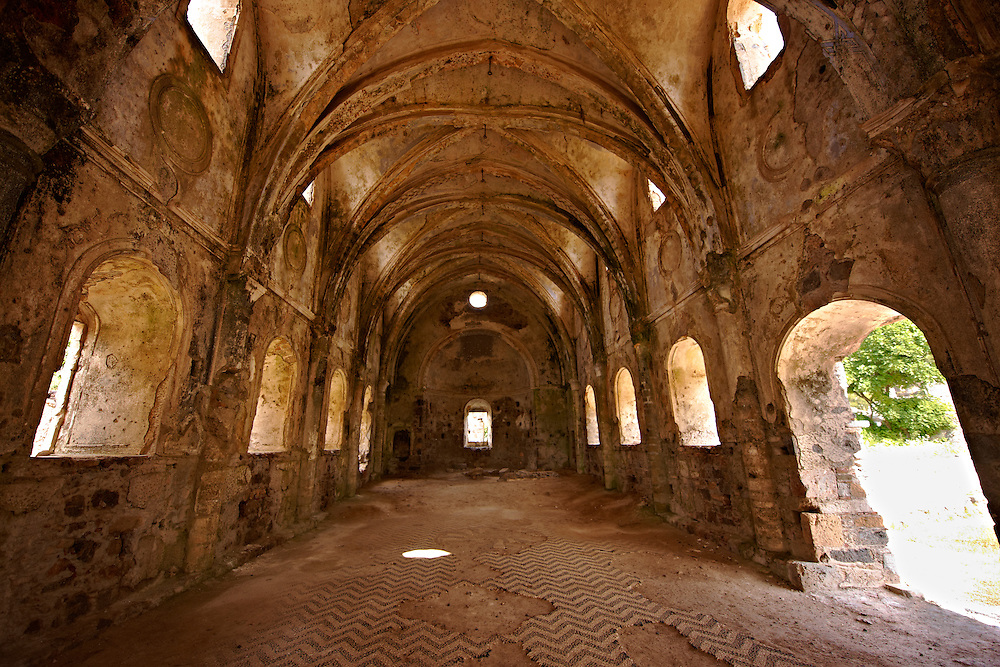 Interior of the 17th cent. Orthodox High Church of Kayaköy (Kayakoy) or Karmylassos, an abandoned Greek Village 8km from Fethiye in Turkey whose inhabitants left as part of a  population exchange agreement between the Turkish and Greek governments in 1923 after the Greco Turkish War. .<br /> <br /> If you prefer to buy from our ALAMY PHOTO LIBRARY  Collection visit : https://www.alamy.com/portfolio/paul-williams-funkystock/kayakoy.html<br /> <br /> Visit our TURKEY PHOTO COLLECTIONS for more photos to download or buy as wall art prints https://funkystock.photoshelter.com/gallery-collection/3f-Pictures-of-Turkey-Turkey-Photos-Images-Fotos/C0000U.hJWkZxAbg